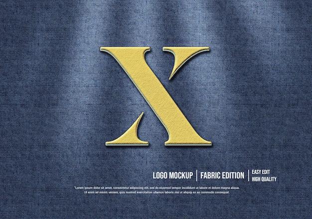 Maquette de logo 3d sur tissu de jeans