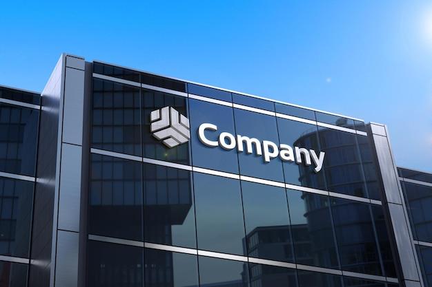Maquette de logo 3d sur verre de bâtiment moderne noir