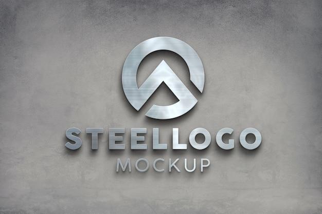 Maquette de logo en acier galvanisé argenté avant 3d sur le mur