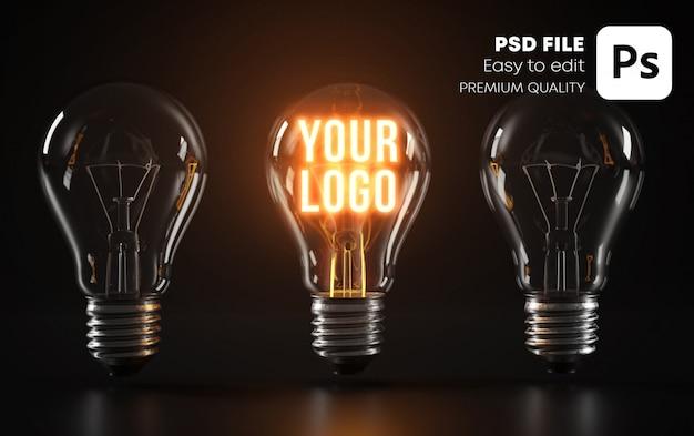 Maquette de logo d'ampoule rougeoyante remarquable