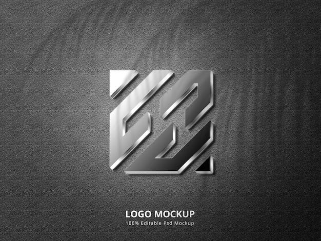 Maquette de logo en argent 3d avec superposition d'ombres