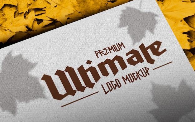 Maquette de logo automne papier naturel