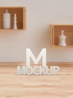 Maquette de logo blanc 3d