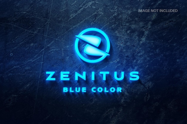 Maquette de logo bleu néon glacé