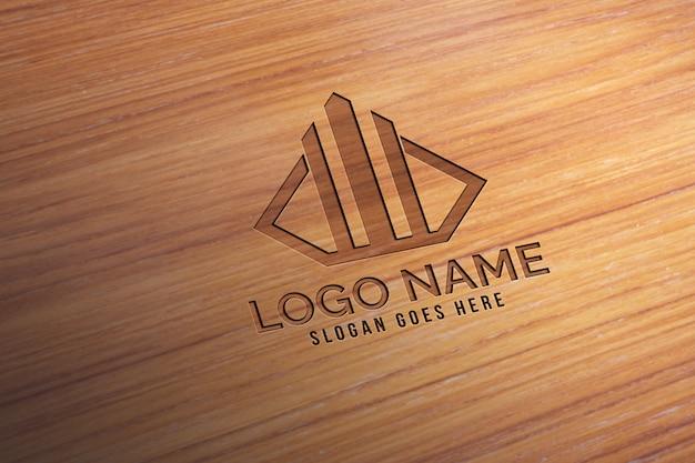 Maquette de logo en bois réaliste 3d moderne