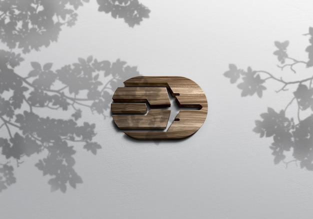 Maquette de logo en bois réaliste 3d