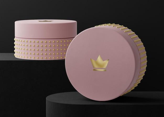 Maquette de logo de boîte à bijoux rose pour le rendu 3d de l'identité de marque