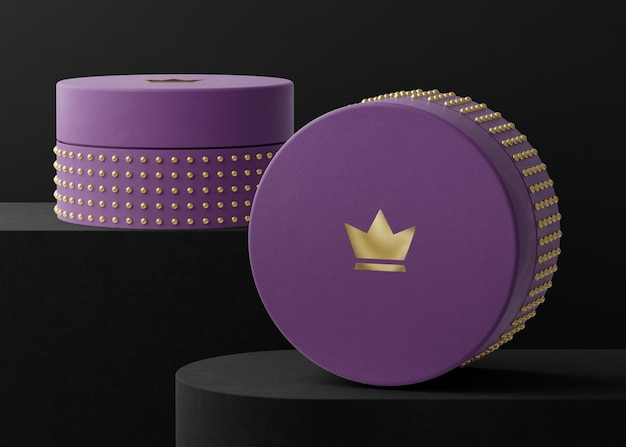 Maquette de logo sur boîte à bijoux violet pour le rendu 3d de l'identité de marque