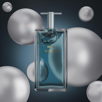 Maquette de logo de bouteille de parfum sur fond abstrait