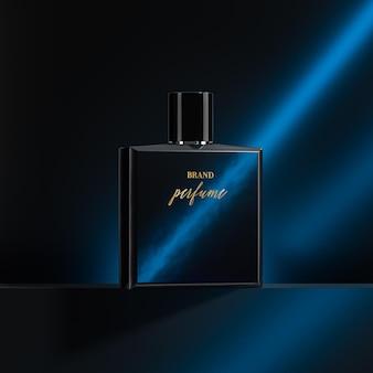 Maquette de logo de bouteille de parfum fond bleu marine