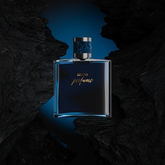 Maquette de logo de bouteille de parfum avec fond bleu rocheux