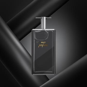 Maquette de logo de bouteille de parfum sur fond noir abstrait