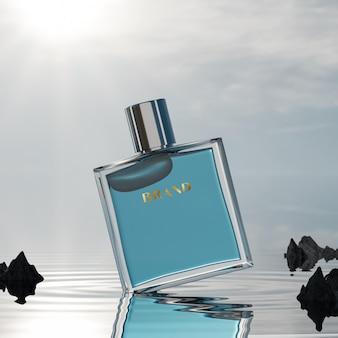 Maquette de logo de bouteille de parfum sur fond de l'océan