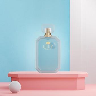 Maquette de logo de bouteille de parfum sur fond de podium rose moderne rendu 3d