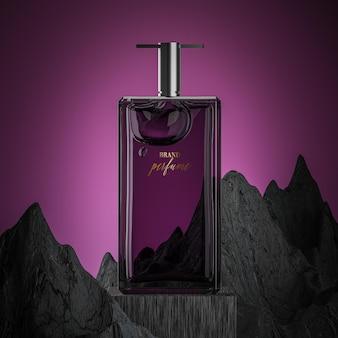 Maquette de logo de bouteille de parfum sur fond rocheux violet abstrait
