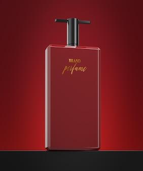 Maquette de logo de bouteille de parfum sur fond rouge abstrait