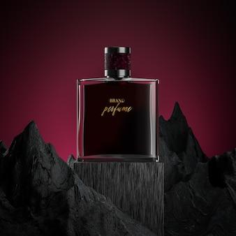 Maquette de logo de bouteille de parfum avec fond rouge rocheux