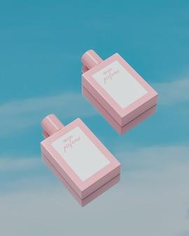 Maquette de logo de bouteille de parfum en lévitation dans le rendu 3d
