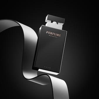 Maquette de logo de bouteille de parfum pour le rendu 3d de l'identité de marque