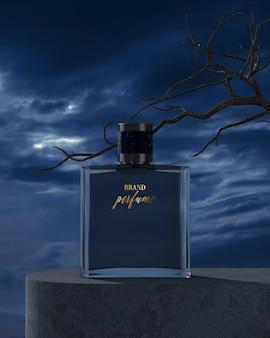 Maquette de logo de bouteille de parfum avec rendu 3d de ciel nocturne nuageux