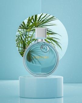Maquette de logo de bouteille de parfum ronde sur fond tropical bleu pour le rendu 3d de la marque