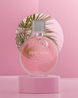 Maquette de logo de bouteille de parfum rose sur fond d'arbres tropicaux podium rendu 3d