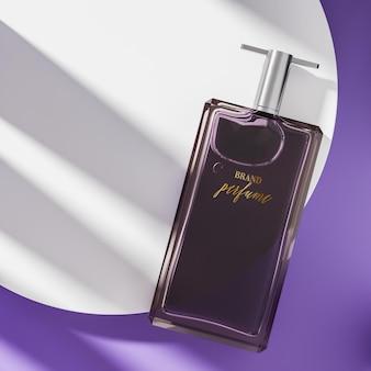 Maquette de logo de bouteille de parfum sur vue de dessus violet