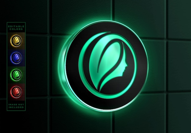 Maquette de logo de cadre de cercle de néon d'applique murale de signe