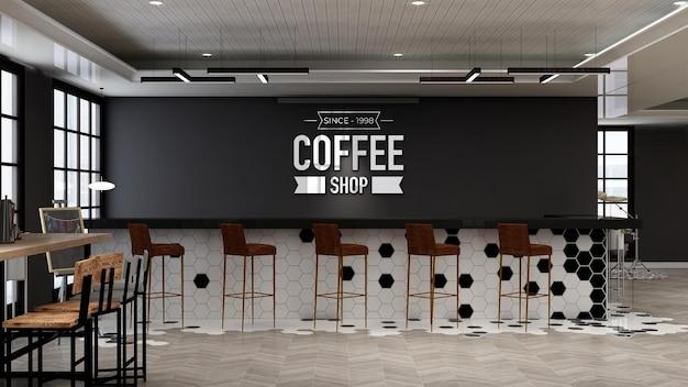 Maquette de logo de café dans un design d'intérieur de bar de café moderne