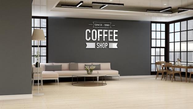 Maquette de logo de café ou de mur de café pour la marque dans une salle de café moderne avec canapé