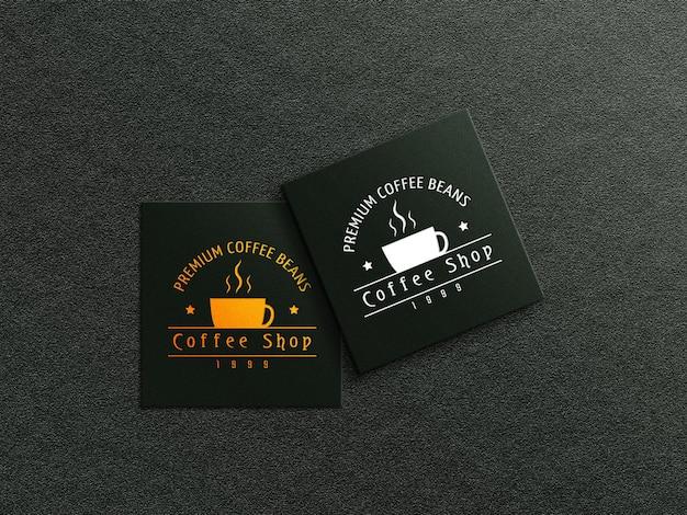 Maquette De Logo De Carte De Visite De Café Avec Effet En Relief Et En Creux PSD Premium