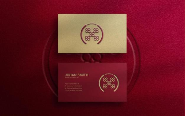 Maquette de logo de carte de visite de luxe moderne avec relief