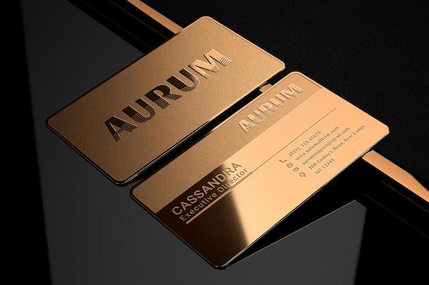 Maquette de logo de carte de visite en métal doré de luxe