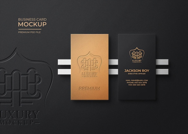 Maquette de logo de carte de visite vue de dessus de luxe avec effet en relief et typographie