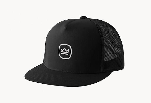 Maquette de logo de casquette noire