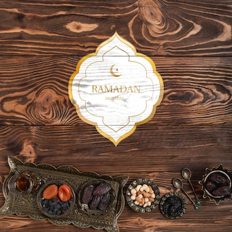 Maquette de logo avec concept de ramadan