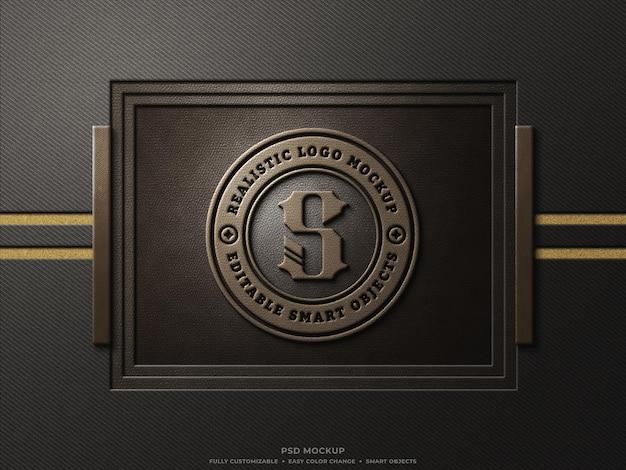 Maquette de logo en cuir marron estampé sur cadre en cuir