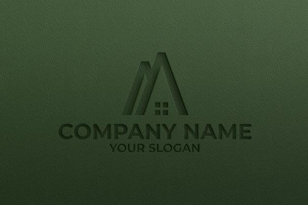 Maquette de logo en cuir texturé couleur verte psd premium