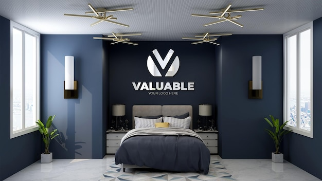 Maquette de logo dans une chambre d'hôtel de luxe