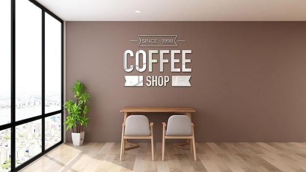 Maquette de logo dans l'espace de travail du café