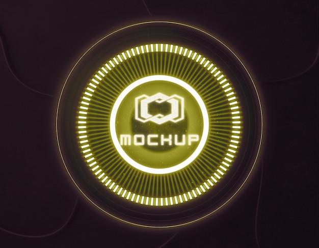 Maquette de logo dans des lumières vives