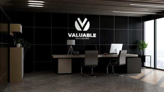 Maquette de logo dans le mur du directeur de bureau