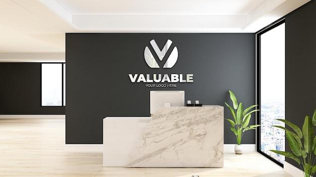 Maquette de logo dans la réceptionniste du bureau avec un intérieur au design minimaliste et élégant