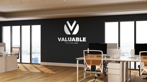 Maquette de logo dans la salle d'affaires de l'espace de travail du bureau