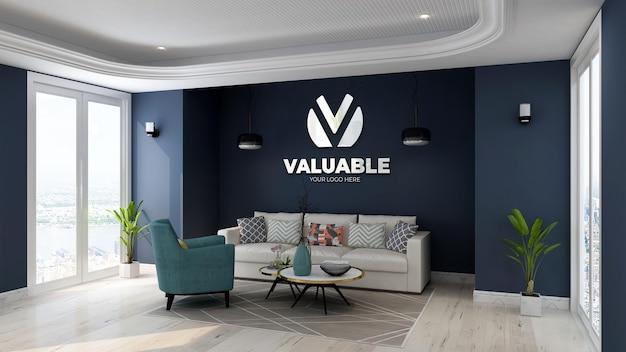 Maquette de logo dans la salle d'attente du hall de bureau moderne