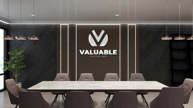 Maquette de logo dans la salle de réunion de design moderne avec des chaises marron