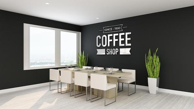 Maquette de logo dans la signalisation murale du café