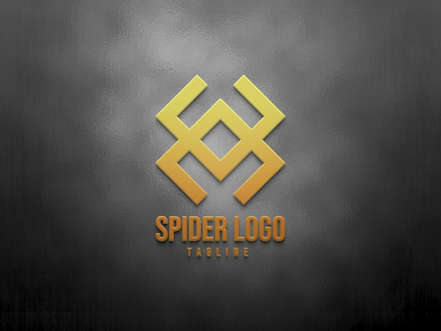 Maquette de logo dégradé 3d sur fond de texture