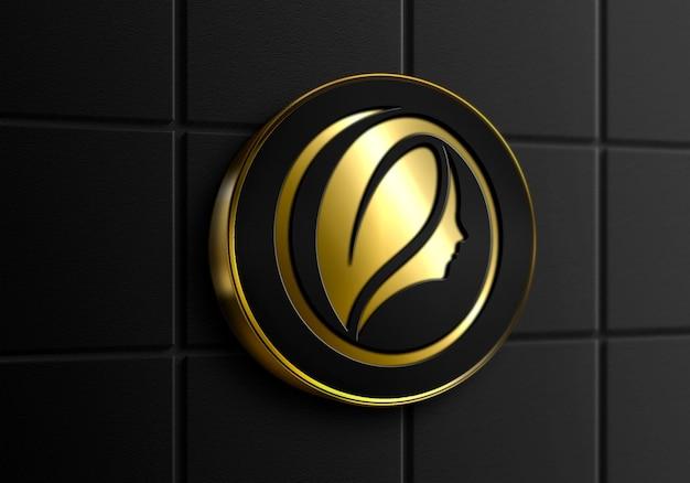 Maquette de logo doré de mur de signe