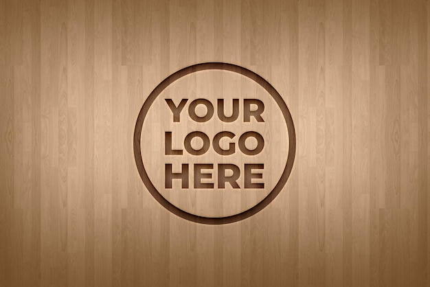 Maquette de logo d'effet de gravure sur la texture de fond de plancher en bois